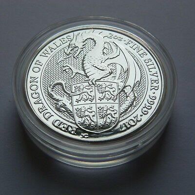 2017 QUEENS BEASTS THE DRAGON OF WALES, 2oz SILVER COIN