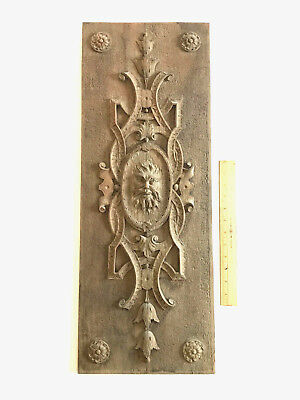 Antique rustic brown carved wood panel with face wall hanging decor 29x11
