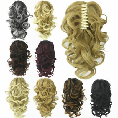 Womens Casual Curly Wavy Short Ponytail Hairpiece Claw Clip-on Hair Extensions
