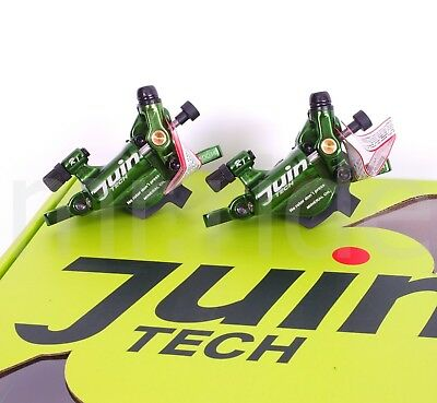 Juin Tech R1 Hydraulic Cable Disc Brake Set Dual Side Actuation Road Bike Green