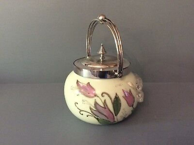 Antique Victorian Glass and Silver Plate Biscuit Barrel Box Cracker Jar