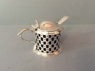 Antique Victorian Silver Drum Mustard with Newcastle Silver Spoon