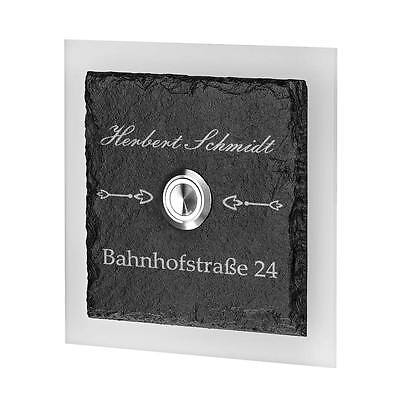 Door Bell Made of Slate Slab Acrylic Glass Model Nilgans Incl. Engraved Fitted