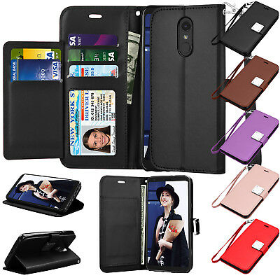 For LG Stylo 4 / LG Stylus 4 Leather Flip Wallet Case Magnetic Protective Cover