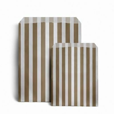 """Gold Candy Stripe Paper Bags (5"""" x 7"""") pack 100"""