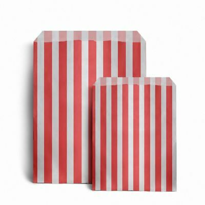 """100 Red Candy Stripe Sweet Paper Bags (125x175mm) 5"""" x 7"""" Gift Treat Party Bags"""