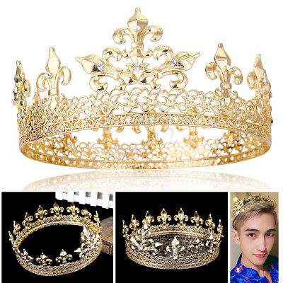 Men's Luxury Full King Round Gold Plated Crown Pearl Crystal Wedding Party Prom