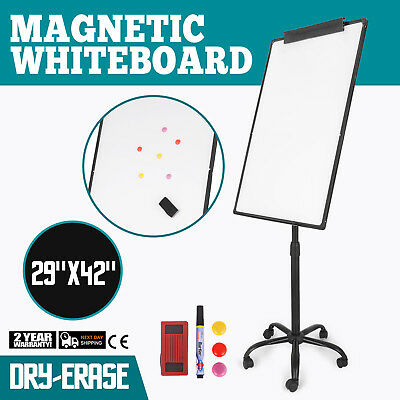 "Mobile Whiteboard Magnetic Dry Erase Board 29""x42"" Single Sided with Stand"