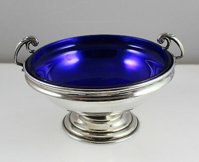 Antique Silver Plated Pedestal Bon Bon Dish / Comport with Blue Glass Liner