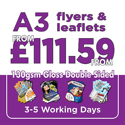250 A3 Full Colour Double Sided Flyers / Leaflets Printed 130gsm Gloss