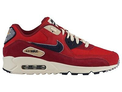 b19a83976e495 NIKE AIR MAX 90 Premium SE Varsity Mens 858954-600 Red Running Shoes ...