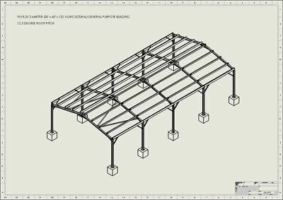 30 x 60 x 12 Steel Framed Building Barn Shed Plans (9m x 18.1m x 3.6)