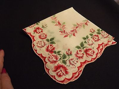 """Vintage Hankie Handkerchief Pink Red Roses Valentines Day 13"""" Square Mint Cond"""