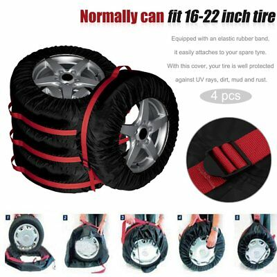 4Pcs Auto Car Vehicle Spare Tire Tyre Wheel Cover Protector Carry Tote Bag B@~
