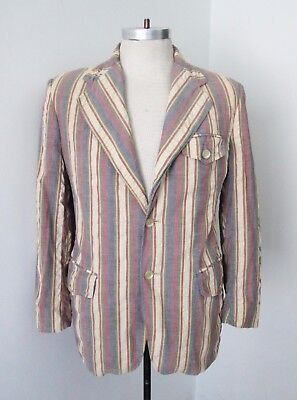 Vtg 60s 70s Faded Red Blue Stripe Madras Cotton Preppy Boating Blazer Jacket 36