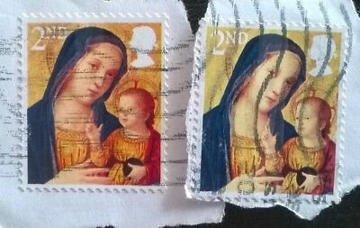 2 Gb Error/variety Used 2Nd Xmas 2013 Sg3542 Stamps Face Shade Varies See Photos