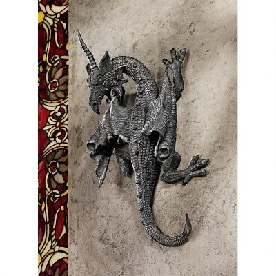 Medieval Gothic Climbing Healing Power Dragon Wall Sculpture