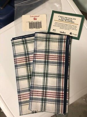 "Longaberger Market Plaid Napkins Set Of 2 NEW 16"" Fabric Squares"