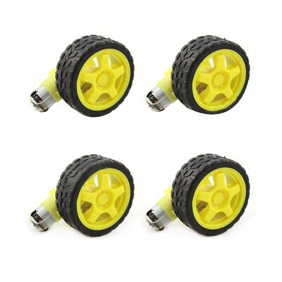 4 Pcs For Arduino Smart Car Robot Plastic Tire Wheel with DC 3-6V Gear Motor KC