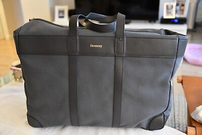 """BN Lge """"HENNESSEY"""" Gray Canvas/Leather Trim Carry-on Luggage has shoulder strap"""