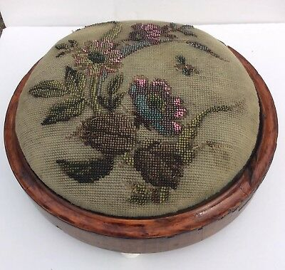 Victorian Tapestry & Bead Work Round Foot Stool Original Condition Circa 1887.