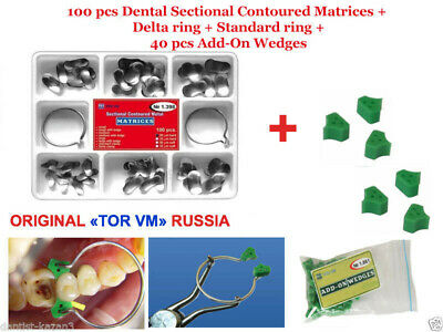 100 pcs Dental Sectional Contoured Matrices Matrix Ring + 40 Add-On Wedges TOR