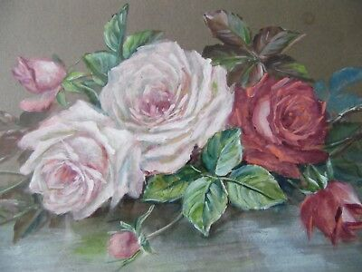 Antique Edwardian Still Life of Pink Roses. Flowers. Framed Watercolour signed A