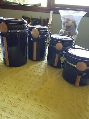 Set Of 4 Cobalt Blue Kitchen Canisters Locking Air Tight Lids Jars  Containers