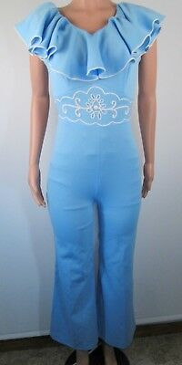 Vintage 70s JC Penney One Piece Jumpsuit Ruffles Embroidered Blue Medium