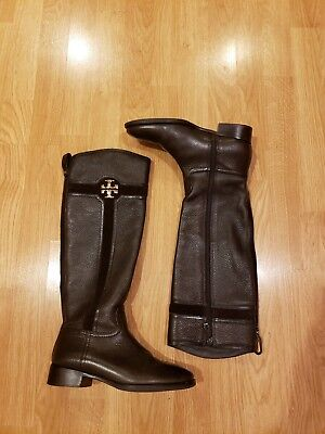 53a014e306c0c Tory Burch Alaina 30mm Brown Tumbled Leather Split Suede Riding Boots SZ 7M