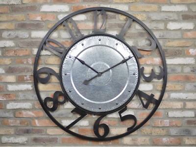 Stunning Very Large Vintage Style Industrial Metal Wall clock 5526