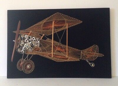 Large Vintage Airplane Copper Wire Art Wall Hanging Decor On Black Background