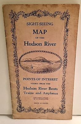 1929 Sight-Seeing MAP HUDSON RIVER w/ Points Interest fm Boats Trains Airplanes