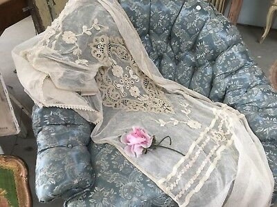 Antique Victorian French Lace Table Runner Tambour Netting Circa 1900-1920 #C