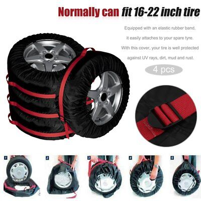 4Pcs Auto Car Vehicle Spare Tire Tyre Wheel Cover Protector Carry Tote Bag@IT
