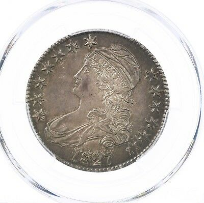 1827 Capped Bust 50C PCGS Certified AU58 Square Base 2 Silver Half Dollar Coin