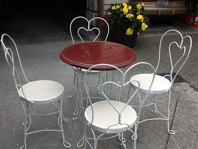 Antique Oak Ice Cream Parlor Table and Chairs