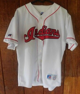 Vintage Russell Athletic Cleveland Indians Sewn White Jersey Sz XL Made in  USA 04cbfade4