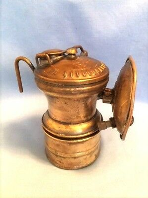 Early AUTOLITE Miners Carbide Lamp w/ Set-Screw Reflector, Vintage Mining light