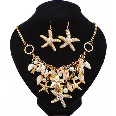 Sea Shell Starfish Faux Pearl Collar Bib Statement Necklace Earrings Jewelry Set