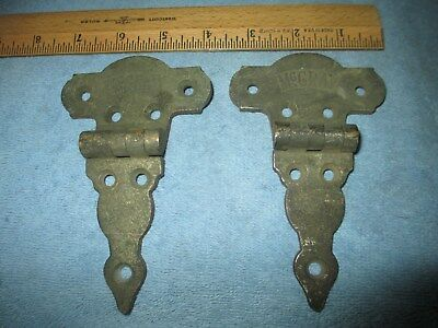 "2 ANTIQUE McCRAY BRASS HINGES ICE BOX 5"" CABINET HARDWARE VINTAGE OFFSET S420"