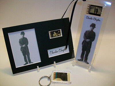 Charlie Chaplin Rare 3 Piece Movie Film Cell Memorabilia Collection Gift Set Lot