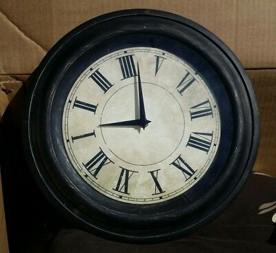 Wall Clock, Vintage French Café Look, Shabby Antique Look, Plastic Body