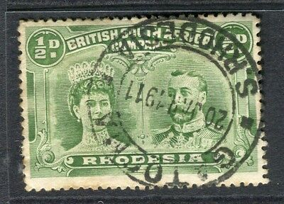 RHODESIA; 1910 early Double Head issue fine used 1/2d. value Postmark