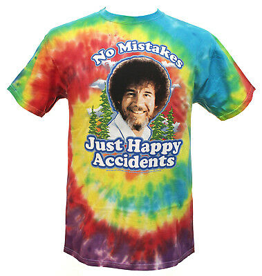 Men's Tie Dye Bob Ross No Mistakes Just Happy Accidents T-Shirt
