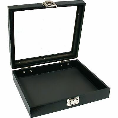"Black Glass Top Jewelry Showcase Travel Display Tray 8 1/4"" x 7 1/4"""