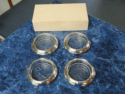 Vintage Amston 144 Sterling Silver & Glass Coasters – Set of 4 - Very Nice!