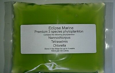 Premium 3 Species Phytoplankton food for Rotifers Copepods Brineshrimp Corals