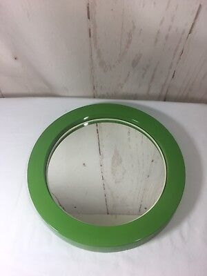 Retro Mid Century Modern Round Lime Green Mirror Made In Japan As Is