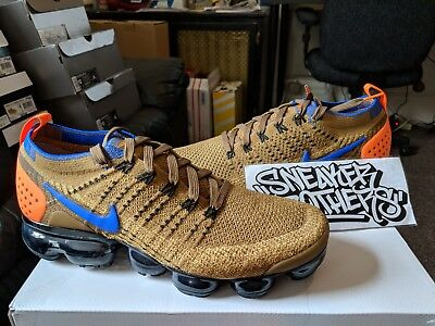 new arrivals 93234 d578d Nike Air Vapormax Flyknit 2.0 Golden Beige Racer Blue Orange Running  942842-203
